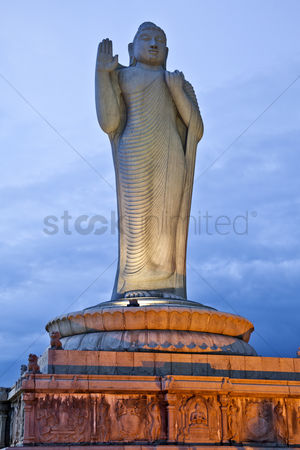 God : Statue of lord buddha  hussain sagar lake  hyderabad  andhra pradesh  india