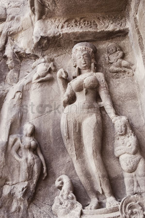 Interior : Statues on the wall in a cave  ellora  aurangabad  maharashtra  india