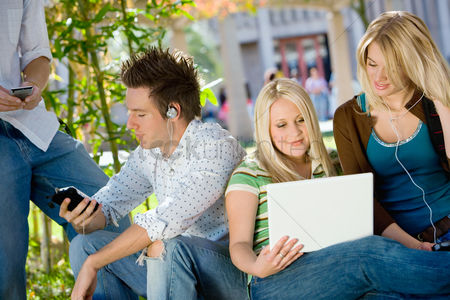 School : Students relaxing outdoors