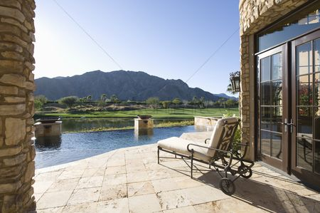 Furniture : Sunlounger with view of mountains in palm springs riverside county california
