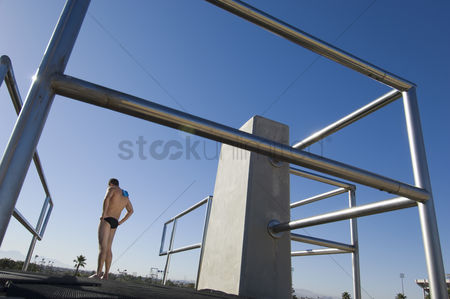 Diving : Swimmer standing on diving board