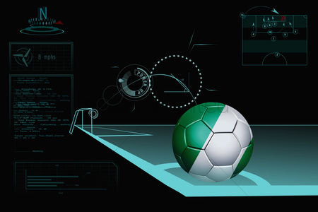 Nationality : Taking a corner infographic with nigeria soccer ball