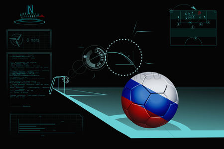 Nationality : Taking a corner infographic with russia soccer ball