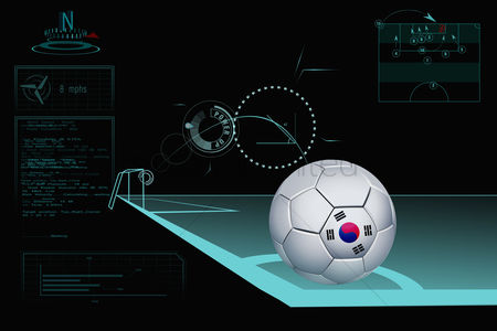 South korea : Taking a corner infographic with south korea soccer ball