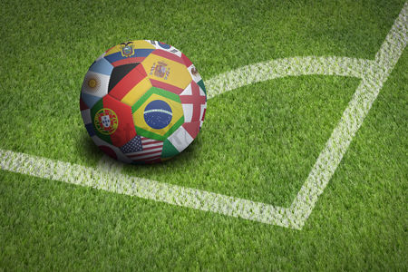 Match : Taking corner with world flags soccer ball