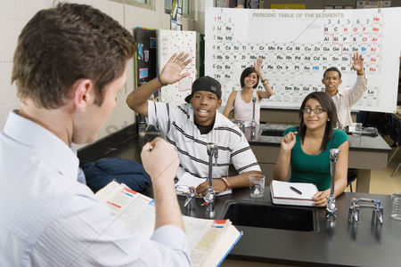 Instruction : Teacher calling on student in science class