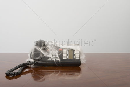 Interior : Telephone covered in cobweb