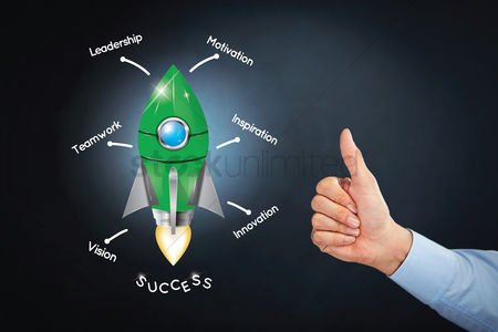 Motivation business : Thumbs up at the concept of launching success