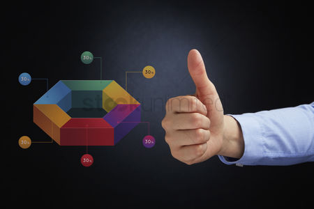 Hexagon : Thumbs up gesture with 3d infographic chart