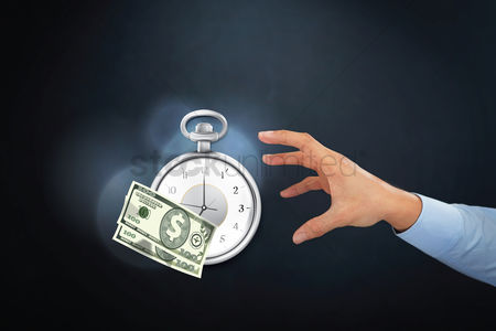 Try : Time is money concept with hand gesture