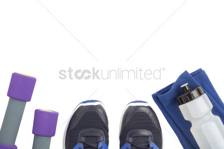 Dumbbell : Top view of fitness equipment on white background with copyspace