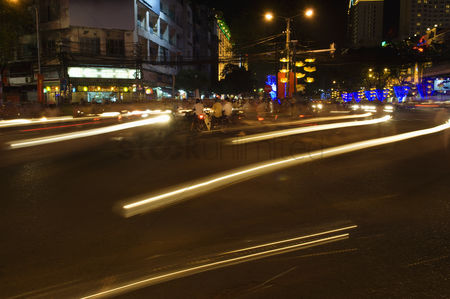 Transportation : Traffic light trails in city