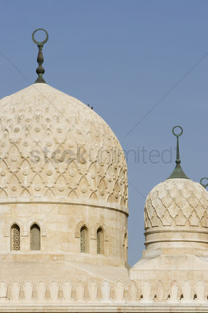 Religion : Uae dubai architectural detail of the domes of the jumeirah mosque