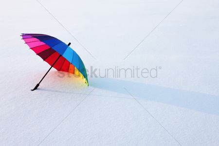 No people : Umbrella abandoned in snow
