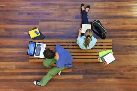 Two people : University students studying from above