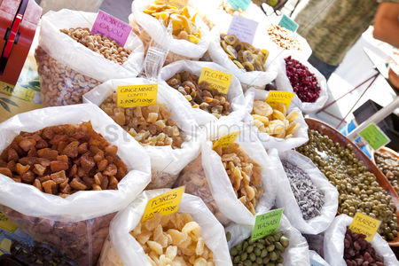 Variety : Variety of dried fruits on display in store