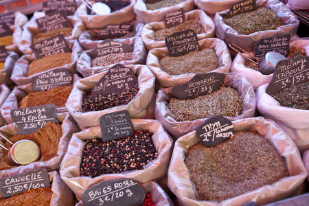 Variety : Variety of spices on display in store
