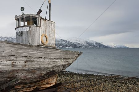 Transportation : Weathered fishing boat kvaloya sallir