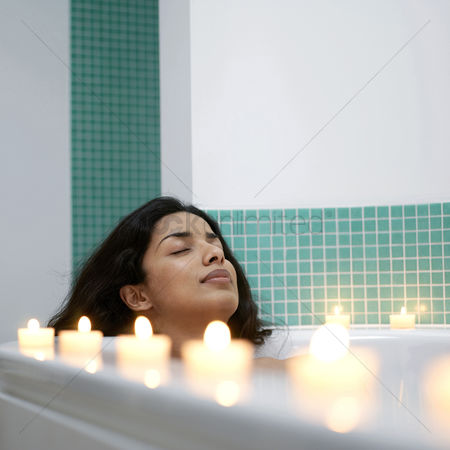 Enjoying : Woman enjoying spa treatment