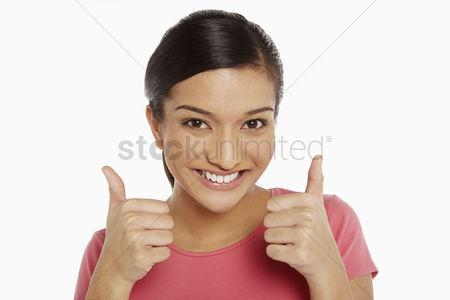 Malaysian indian : Woman giving two thumbs up