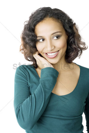 Smile : Woman grinning sheepishly