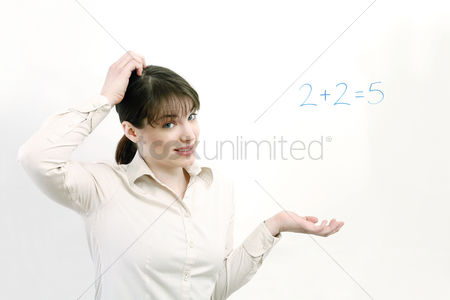 Educational : Woman having problem solving a simple equation