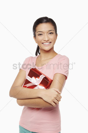 Malaysian indian : Woman holding a red gift box