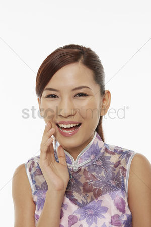 Lunar new year : Woman in traditional clothing laughing