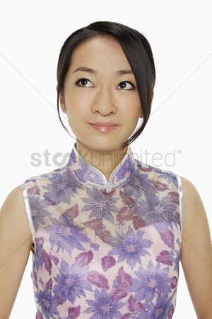Lunar new year : Woman in traditional clothing smiling