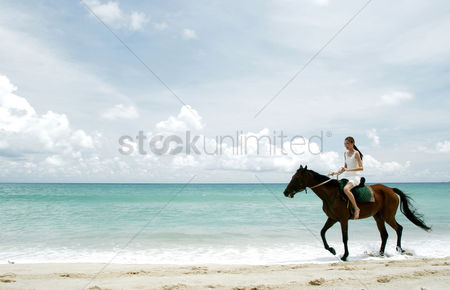 Outdoor : Woman riding a horse on the beach