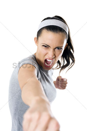 Fury : Woman shouting while punching
