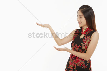 Lunar new year : Woman showing hand gesture