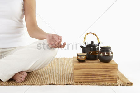 Food  beverage : Woman sitting and meditating