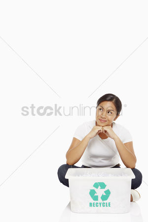 Bidayuh ethnicity : Woman sitting on the floor  contemplating