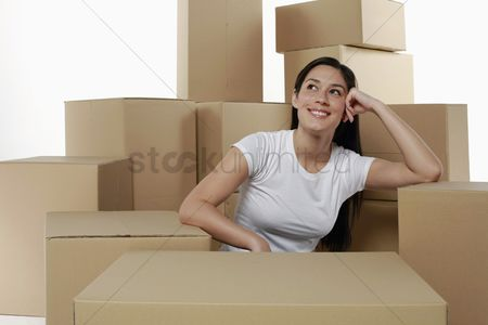 Interior background : Woman thinking