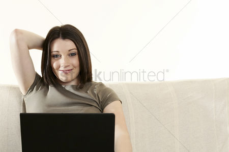 Internet : Woman using laptop