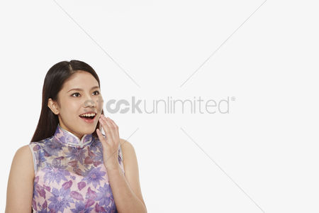 Lunar new year : Woman with a surprised facial expression