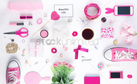 Flat : Women s accessories on white background