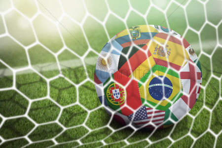 Pitch : World flags soccer ball in goal net