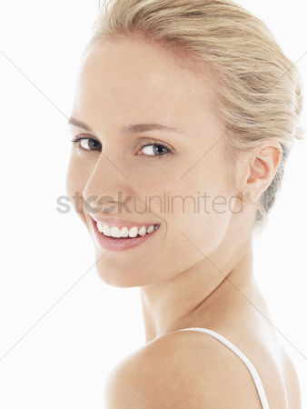 Young woman : Young blonde woman smiling portrait