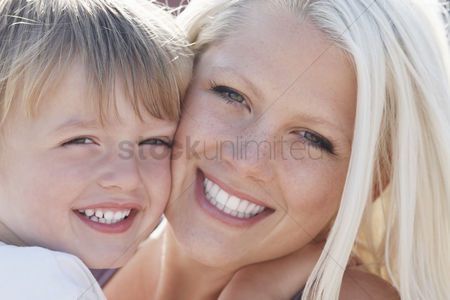 England : Young mother and son  3-4  close-up