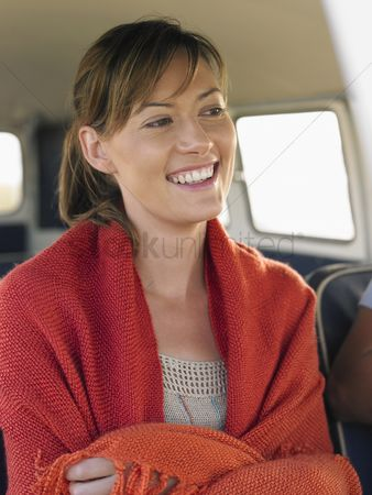Gladness : Young woman in camper van