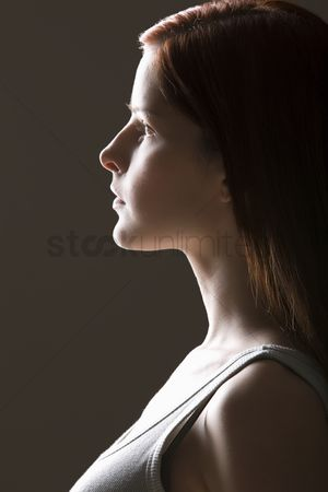 Proud : Young woman side view portrait